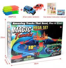 Žaislinė lenktynių trasa su švienčiančia mašinėle (360 det.)