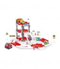 Žaislinis ugniagesių mašinų ir parkingo rinkinys
