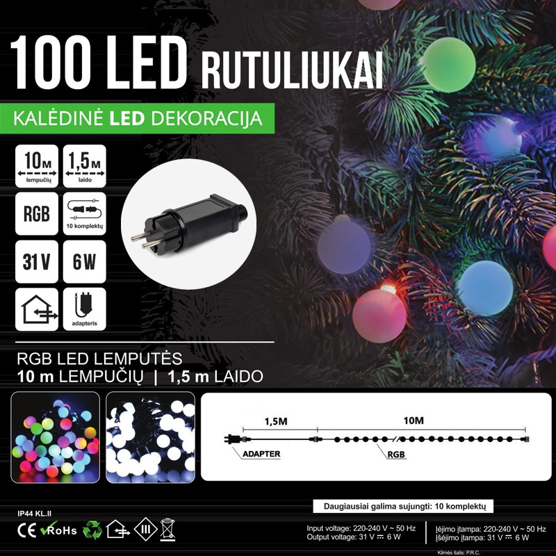 KALĖDINĖ GIRLIANDA RUTULIUKAI RGB - LED 100 SPC