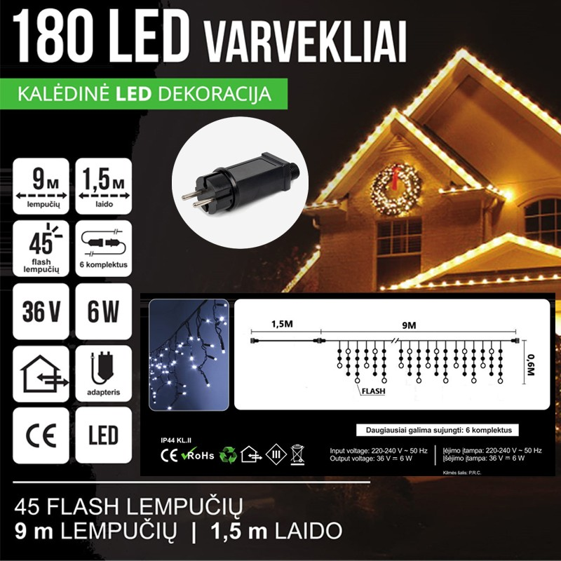LED 660 GIRLIANDA VARVEKLIAI 33 M BLYKSTĖ SPC