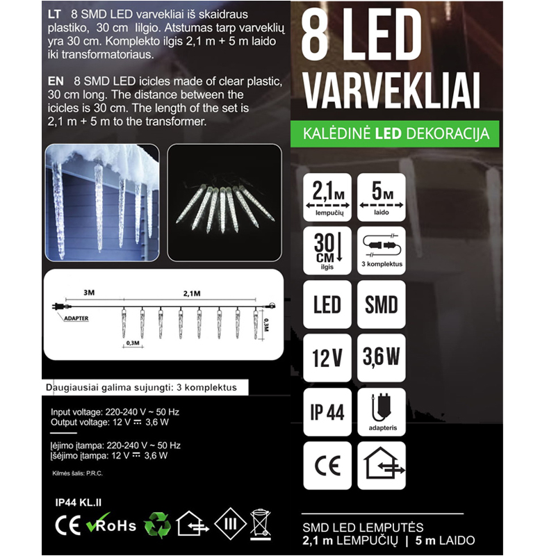 LED GIRLIANDA TIRPSTANTYS VARVEKLIAI SUPER PREMIUM CLASS