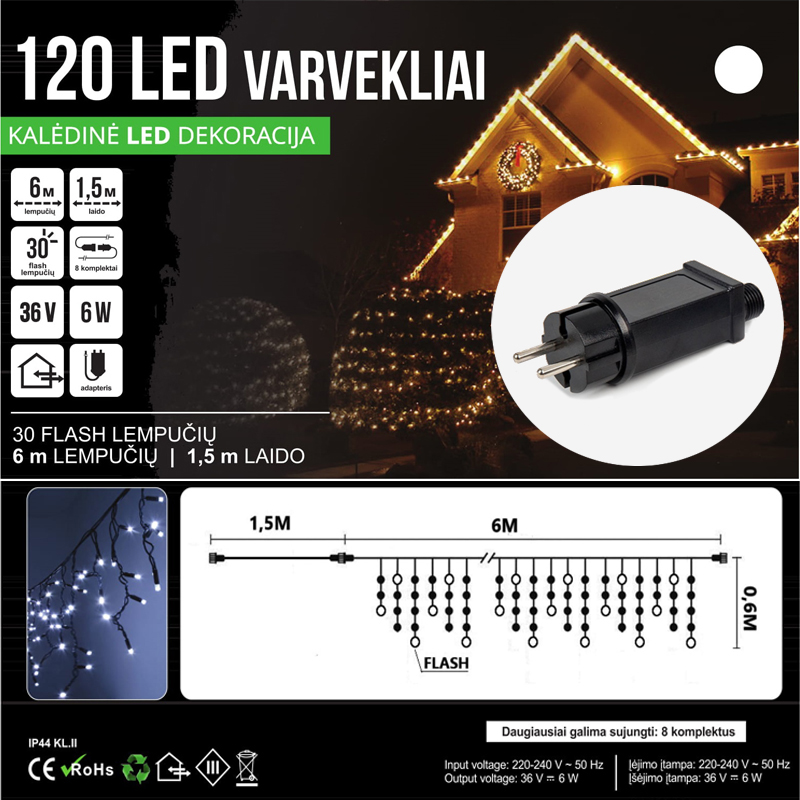 LED 420 GIRLIANDA VARVEKLIAI 21 M BLYKSTĖ SPC
